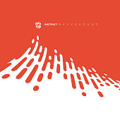 Abstract red or orange rounded lines halftone distort transition. Vector Background Illustration