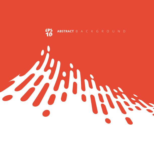stockillustraties, clipart, cartoons en iconen met abstracte rode of oranje afgeronde lijnen halftone vervormen overgang. - stroom stromend water