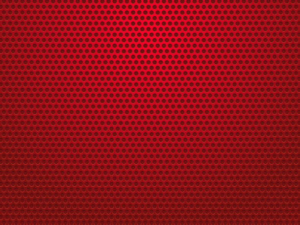 abstract red perforated metal background vector art illustration