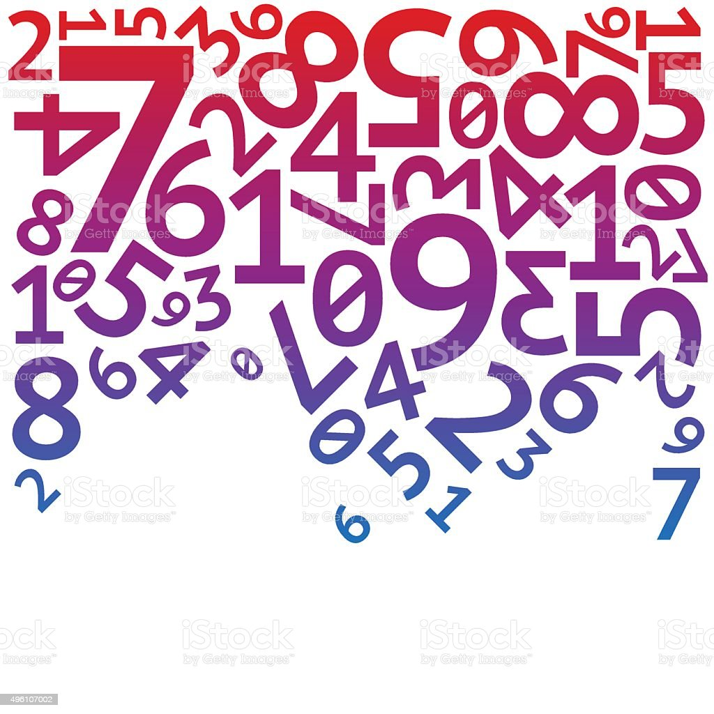 Abstract red, purple and blue random falling digits on white royalty-free abstract red purple and blue random falling digits on white stock illustration - download image now