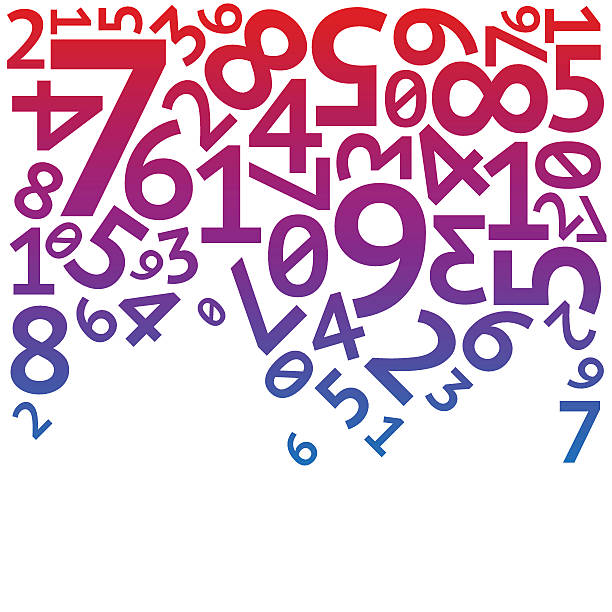 tło czerwony, fioletowy, niebieski losowo spadające cyfr na białym - dane finansowe stock illustrations