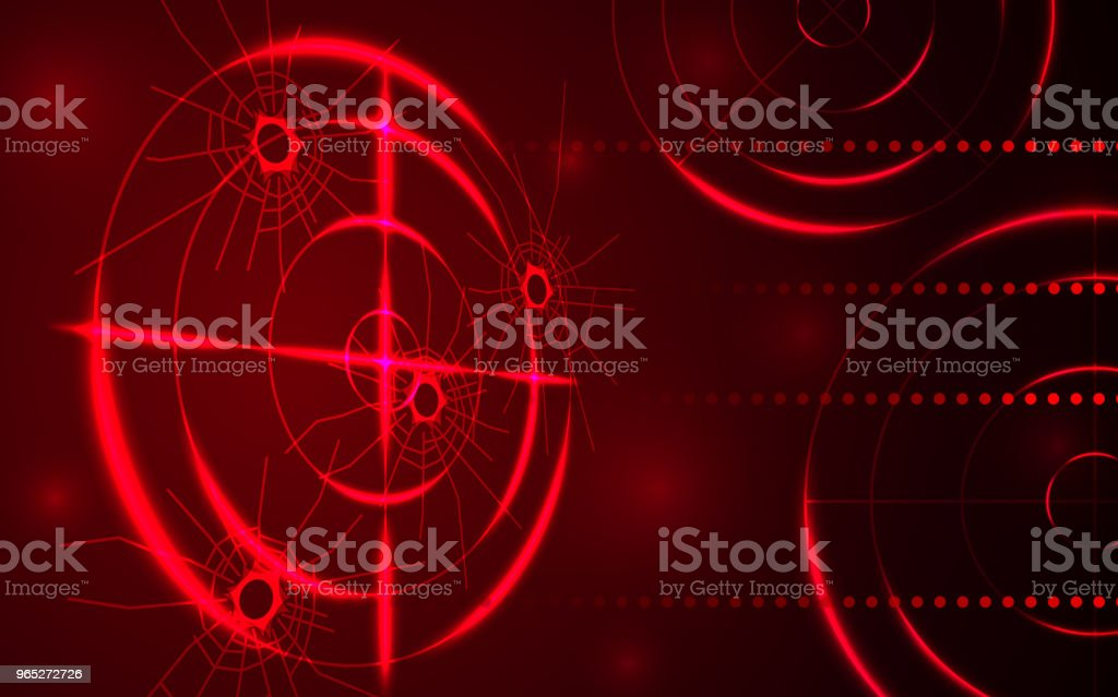 Abstract red radar, target, shooting range with bullet hole digital technology concept. royalty-free abstract red radar target shooting range with bullet hole digital technology concept stock vector art & more images of abstract