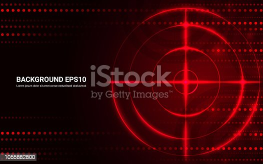 Abstract red target, shooting range on black background. Vector isolated template for business goal. Shooting target success solutions concept.