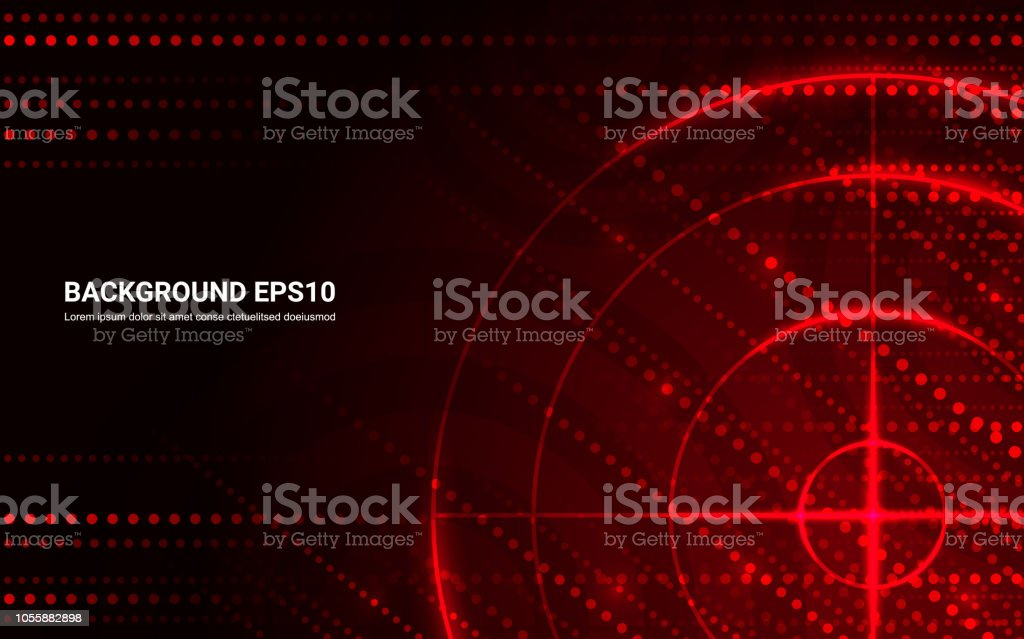 Abstract red target, shooting range on black background. Vector isolated template for business goal. Shooting target success solutions concept. vector art illustration