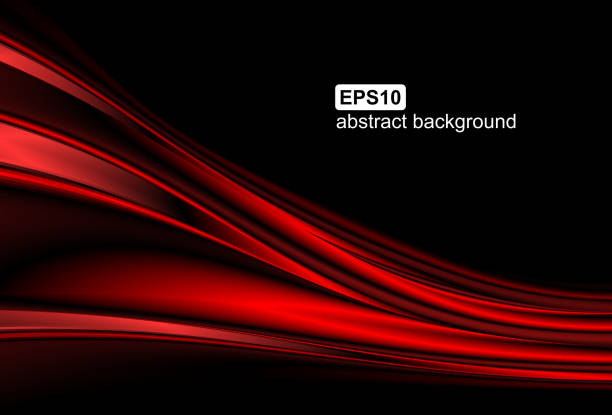 Abstract red wave background vector art illustration