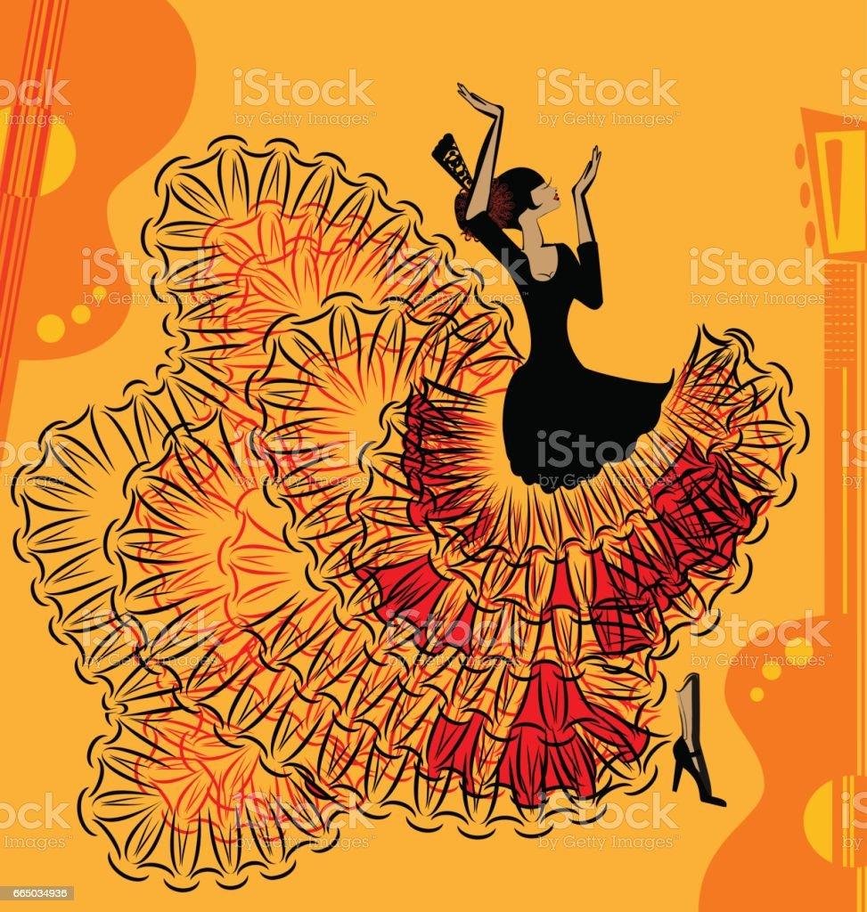 abstract red-yellow music of flamenco - ilustración de arte vectorial