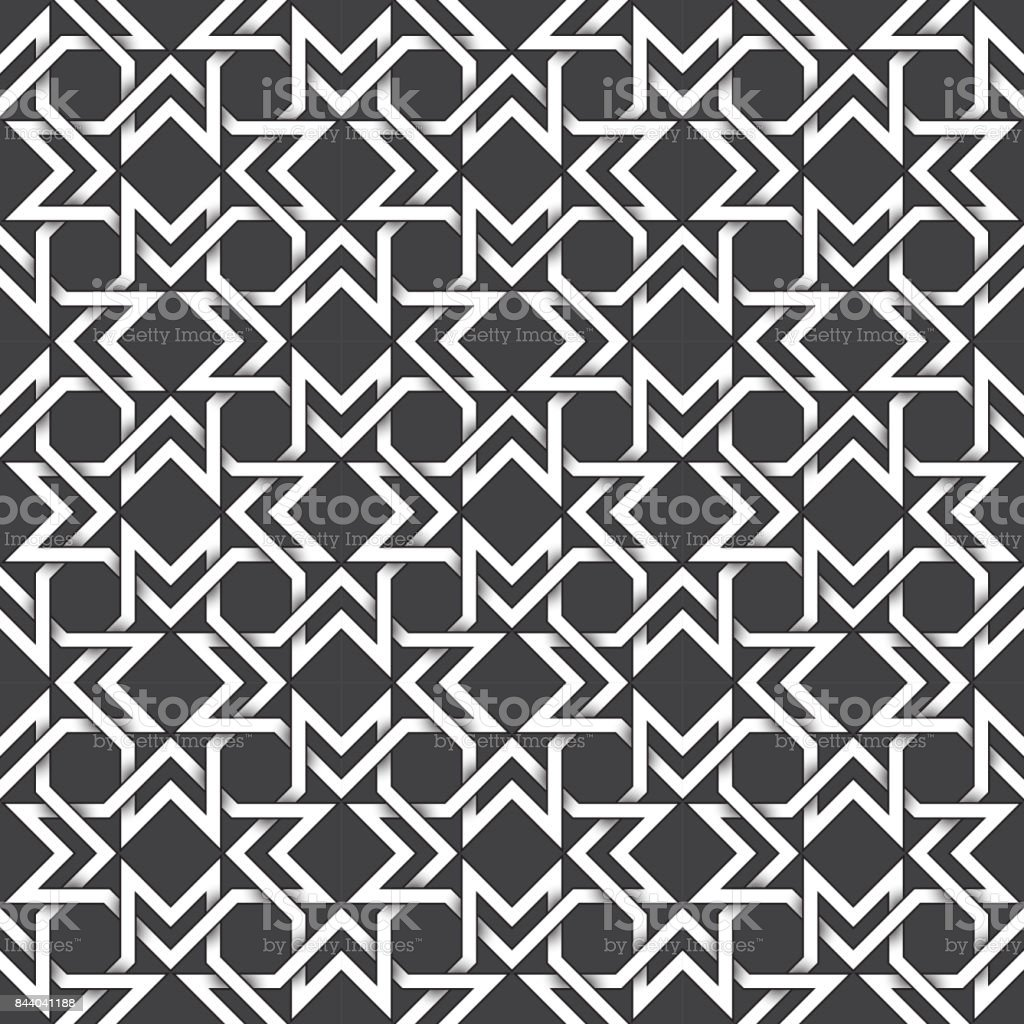 Abstract repeatable pattern background of white twisted bands with black strokes. Swatch of shapes plexus in polygons form. Seamless pattern in vintage style. vector art illustration
