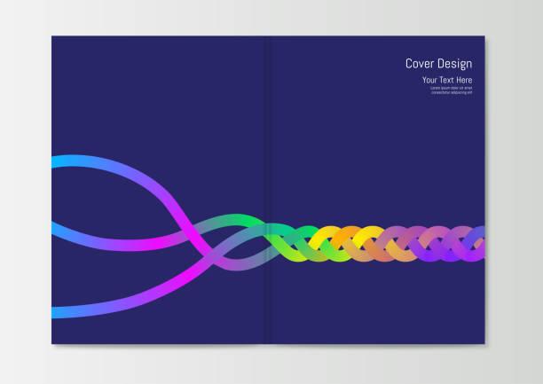 추상 보고서 표지 디자인 템플릿 - 주름 stock illustrations