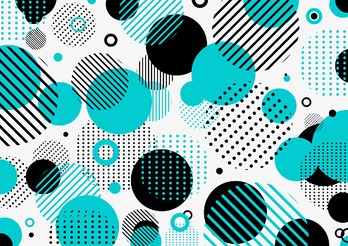 Abstract retro 80s-90s pattern blue and black geometric circles, line, dot on white background.