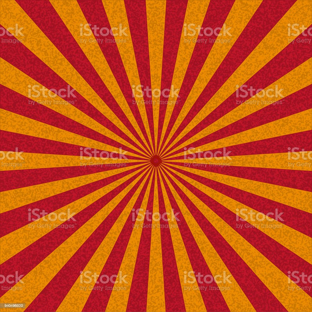 Abstract retro background with red sun rays. Vector