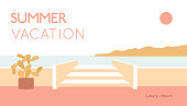 Tropical summer simple illustration, minimal poster, print, card design. Vacation text and red sun