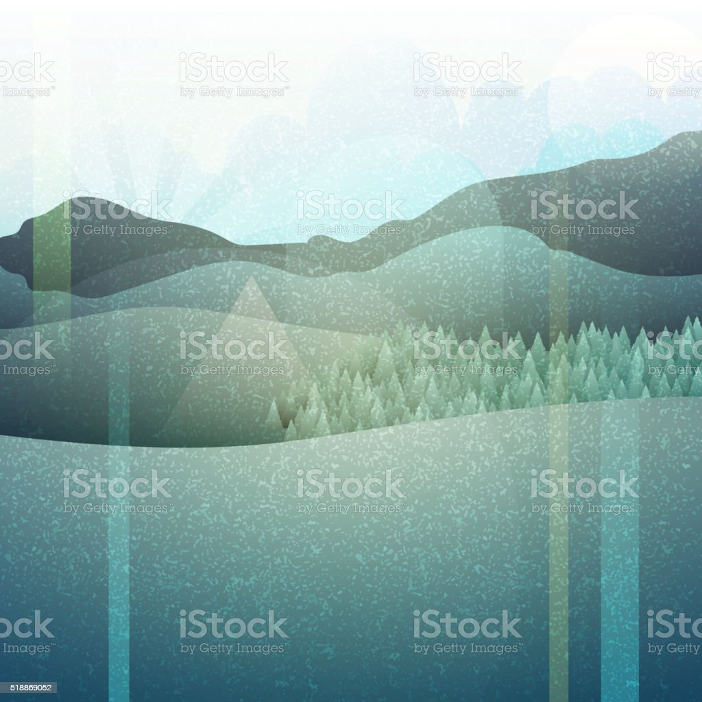 Abstract retro landscape with texture. Mountain plains. vector art illustration