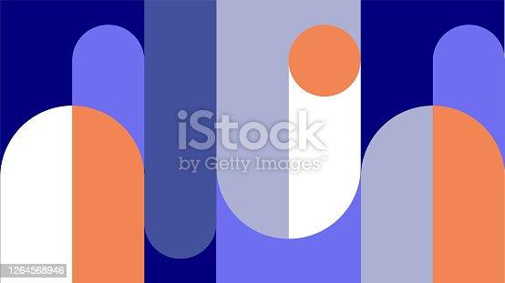 istock Abstract retro midcentury geometric graphics 1264568946