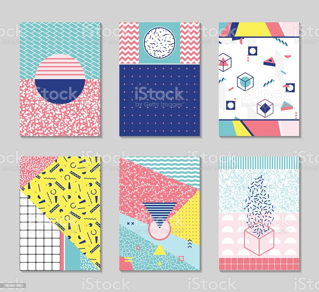 Abstract memphis style cards. vector art illustration
