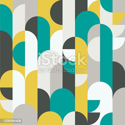 istock Abstract retro style seamless vector pattern with geometric shapes colored in yellow, green and grey. Modern geometrical pattern for textiles, fashion, wrapping paper, wallpaper. 1209084408