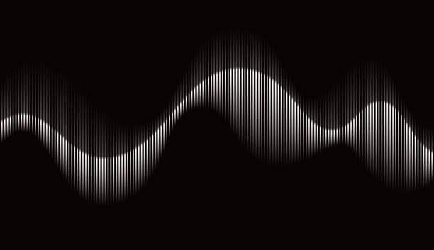 Abstract Rhythmic Sound Wave Vector Illustration of a Beautiful Abstract Rhythmic Sound Wave Movement on a Black Background. shaking stock illustrations