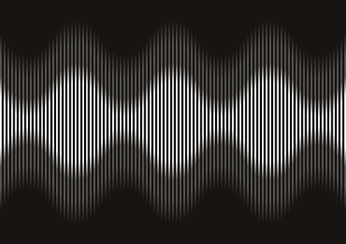 Vector Illustration of an Abstract Rhythmic Sound Waves Movement on a Black Background