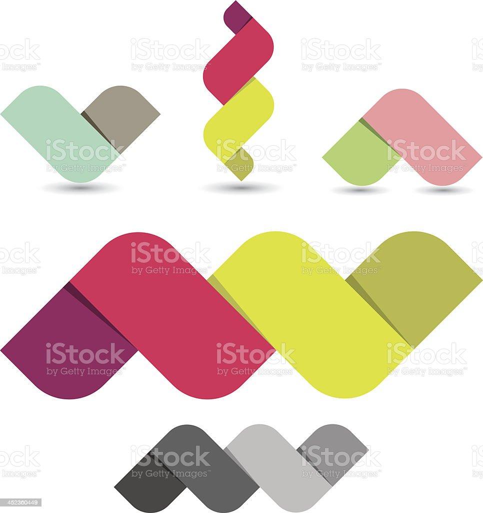 Abstract ribbon icons vector art illustration