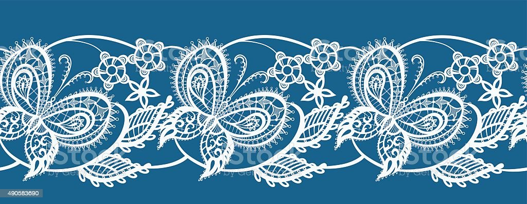 Abstract Ribbon Lace With Flowers And Butterflies Stock Illustration Download Image Now Istock