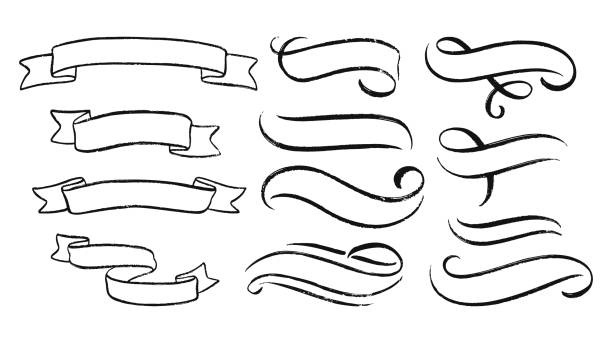 Abstract ribbons and other elements in hand drawn style for concept design. Doodle illustration. Vector template Abstract ribbons and other elements in hand drawn style for concept design. Doodle illustration. Vector template for decoration ribbon sewing item stock illustrations