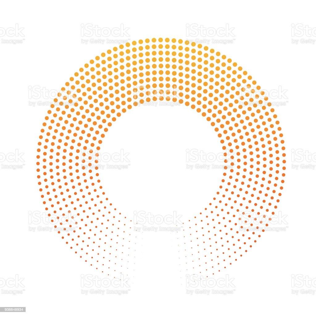 ドットの抽象的なリング。黄橙色の夕日色のグラデーションでハーフトーン。モダンなデザインのベクトルの背景 ベクターアートイラスト
