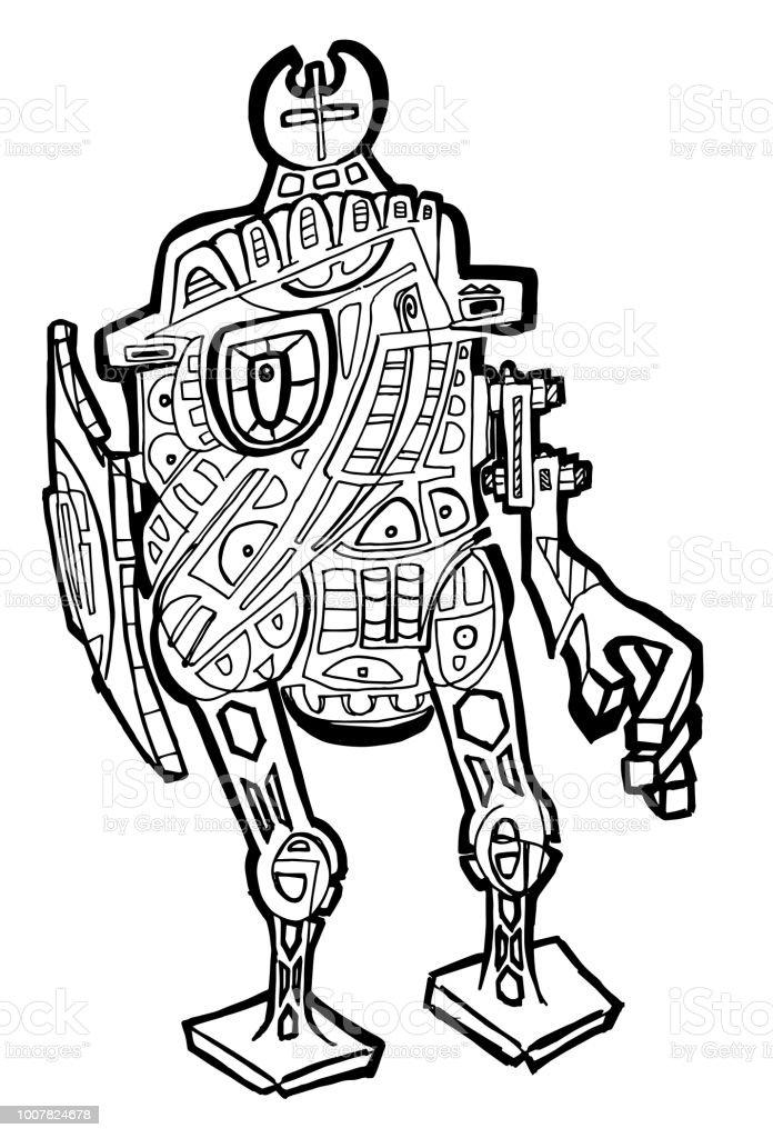 Ilustración de Página De Resumen De Robot Para Colorear y más banco ...