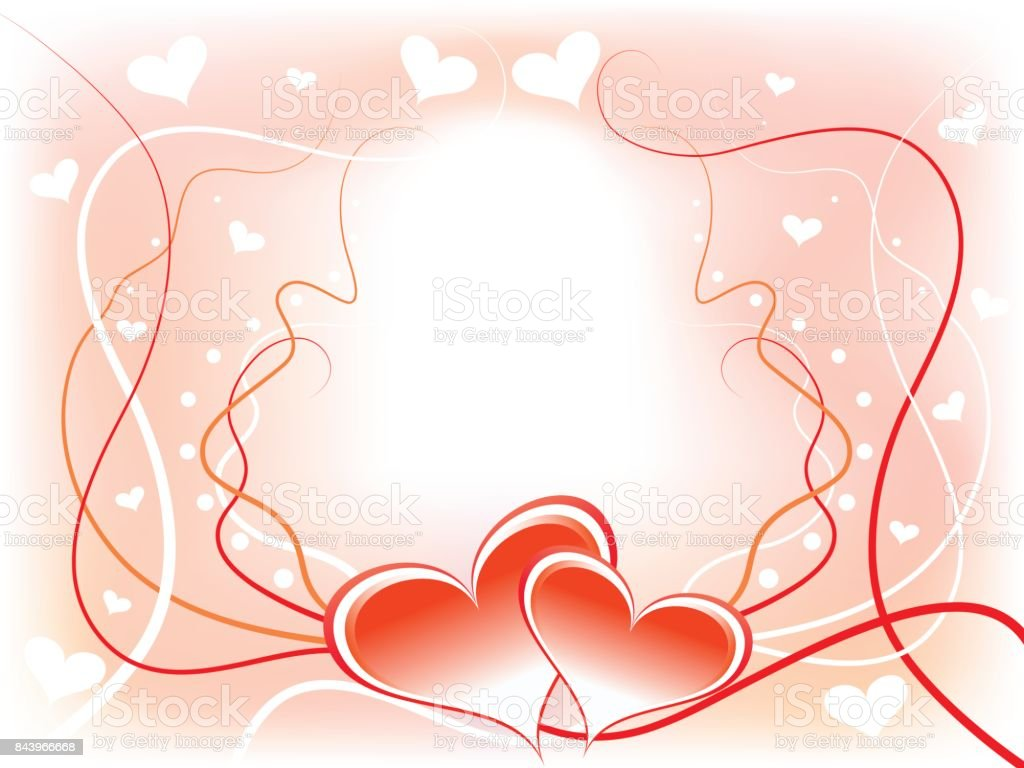 Abstract Romantic Background Frame With Two Hearts Stock Vector Art ...