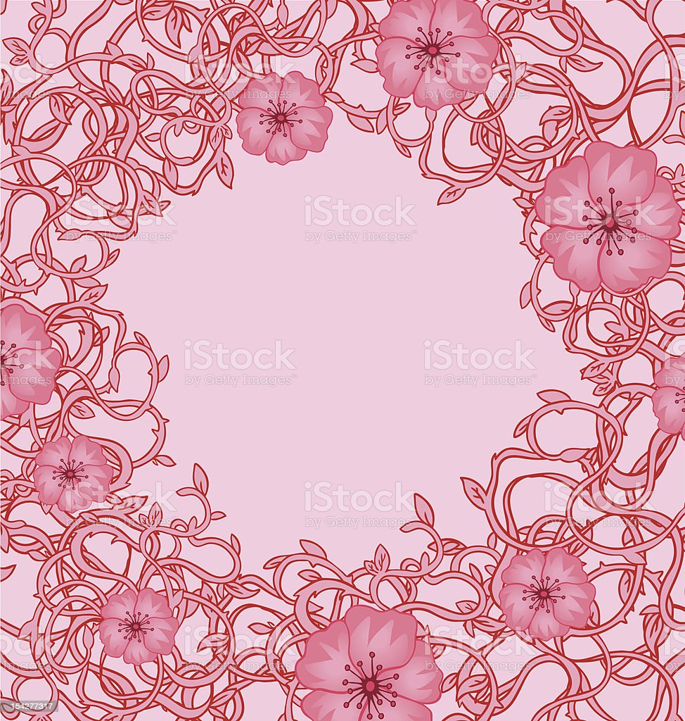 Abstract romantic vector frame with anemones royalty-free stock vector art