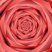 Red twisted and ribbed abstract rose flower background