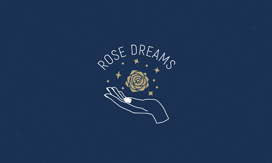 Abstract rose  with female hand and stars. Minimal linear art. Hands, earth and stars. Vector graphic  template for beauty salon, jewellery, cosmetics, hand crafted products.