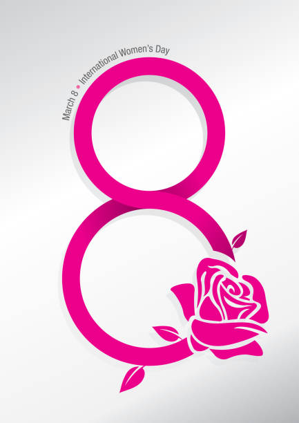 abstract rose with the stem forming the number 8 in pink with the message international women's day on white background - alejomiranda stock illustrations