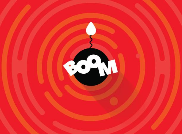 Abstract round comic BOOM background. Simple rounded line geometric shapes. Radial comics style cartoon banner. Explosion vector background. Flat bomb with fire burning wick. Red, white, black color bangs stock illustrations