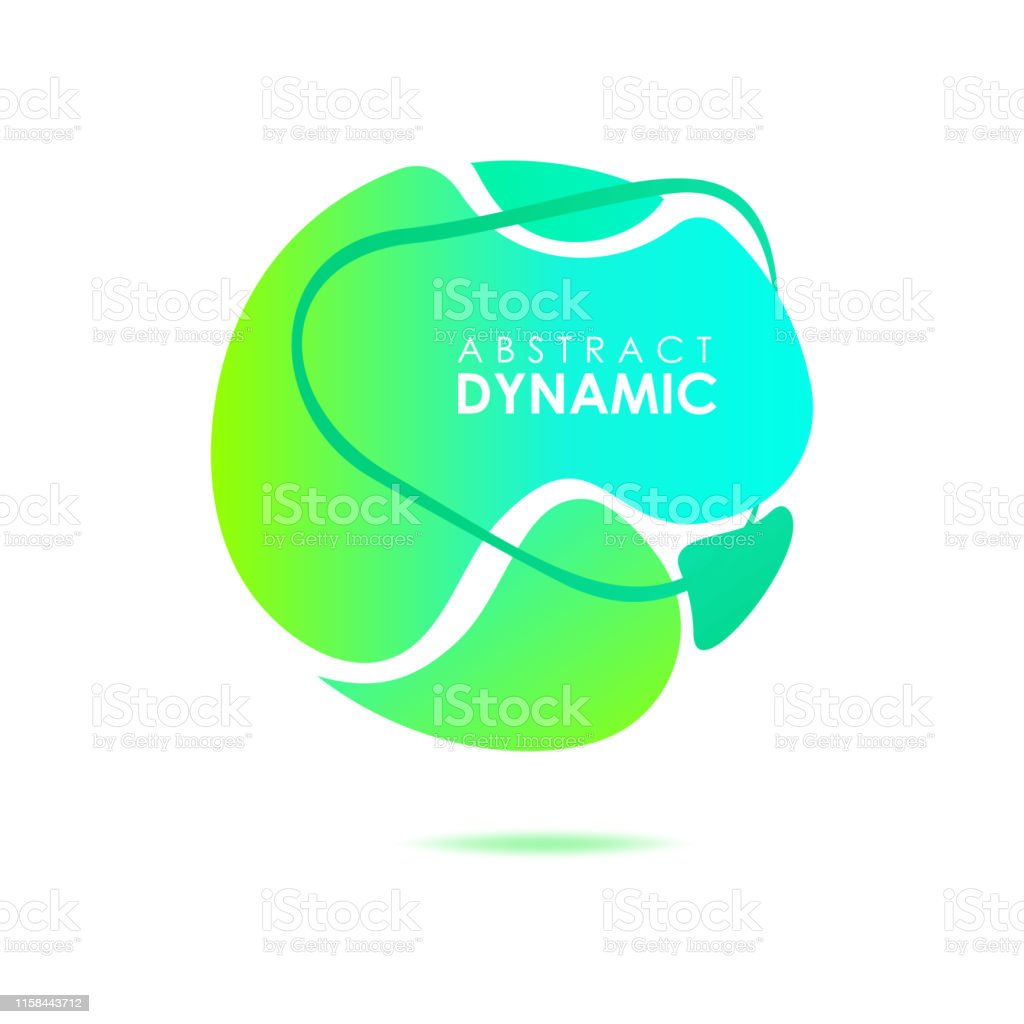 Abstract Round Form Green And Cyan Fluid Shapes Stock