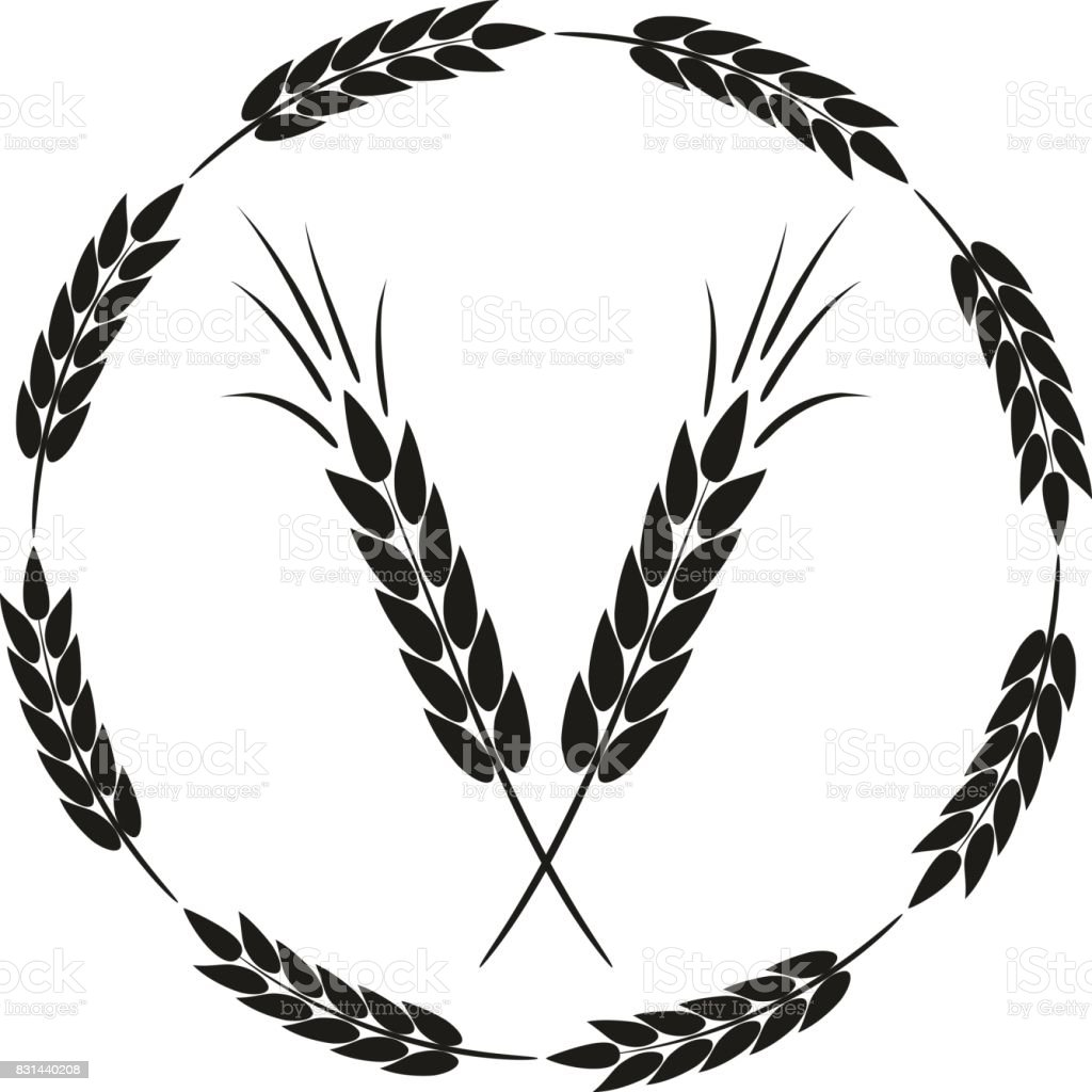 Abstract round frame with spikelets and a schematic image of a black ear. vector art illustration