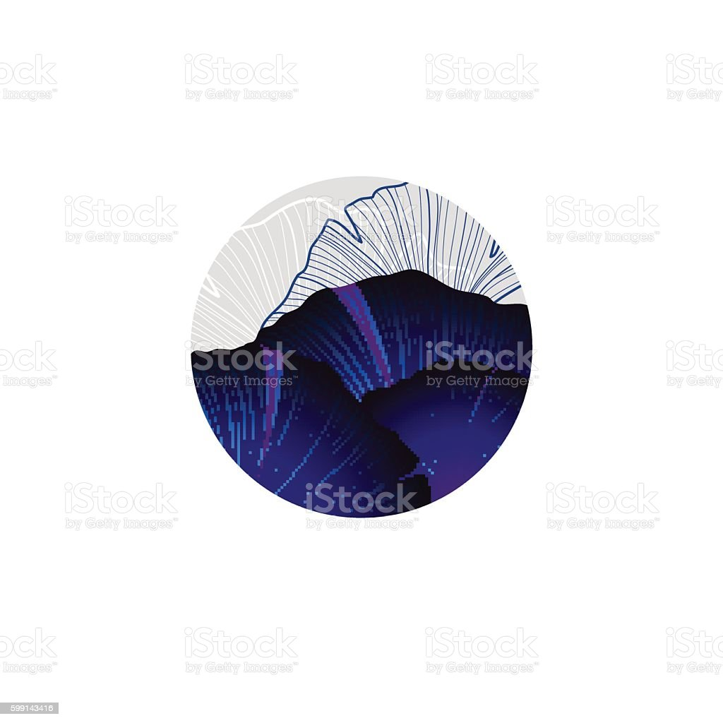 Abstract round logo with part of ginkgo leaf vector art illustration