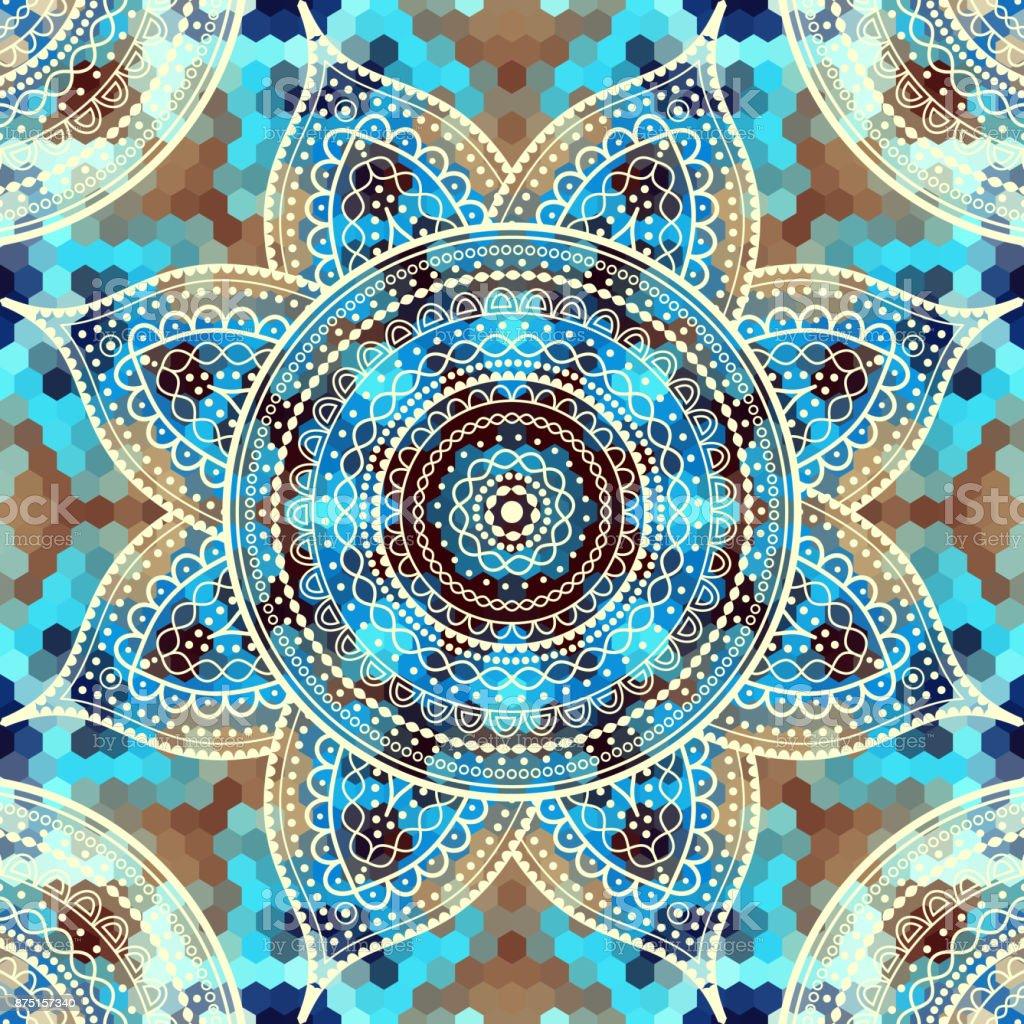 Abstract round mandala pattern vector art illustration