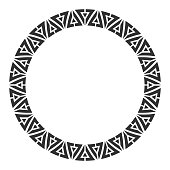 Abstract round meander, circular geometric ornament, frame made of triangles. Ethnic pattern isolated on white background. Place for text. Vector monochrome illustration for invitations, greeting cards.