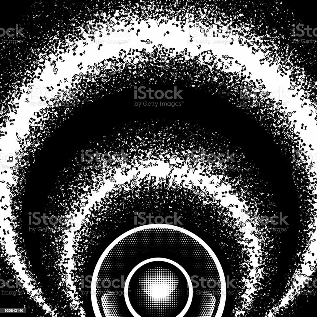 音符とスピーカーと抽象的なラウンド白黒背景ベクトル図