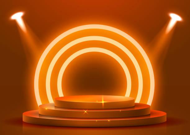 スポットライトで照らされた抽象的なラウンド表彰台。授賞式のコンセプト。ステージの背景。 - ステージ点のイラスト素材/クリップアート素材/マンガ素材/アイコン素材