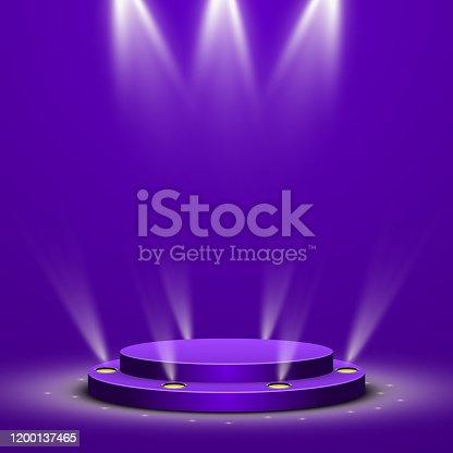 istock Abstract round podium with illumination on purple background 1200137465