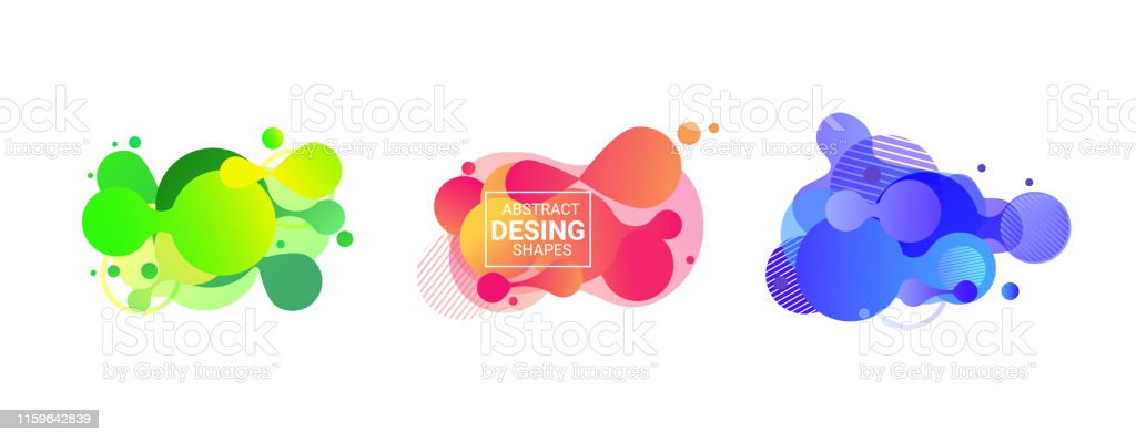 Abstract Round Shape Set Purple Blue Pink Stock Illustration
