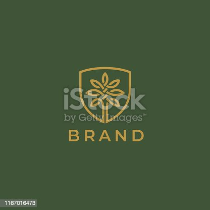 Abstract round tree logo icon. Universal creative premium solid floral leaf and shield symbol. Cosmetic and spa. Vector circle life tree icon sign.