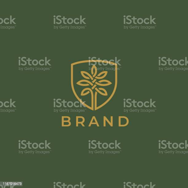 Abstract Round Tree Logo Icon Universal Creative Premium Solid Floral Leaf And Shield Symbol Cosmetic And Spa Vector Circle Life Tree Icon Sign - Arte vetorial de stock e mais imagens de Abstrato