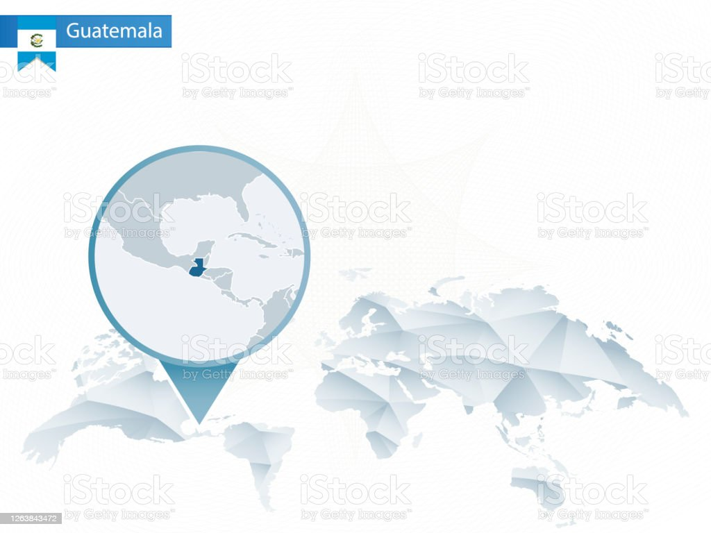 Abstract Rounded World Map With Pinned Detailed Guatemala Map Stock Illustration Download Image Now Istock