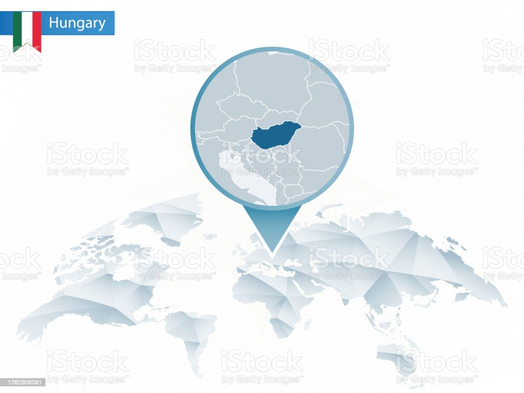 Image of: Abstract Rounded World Map With Pinned Detailed Hungary Map Stock Illustration Download Image Now Istock