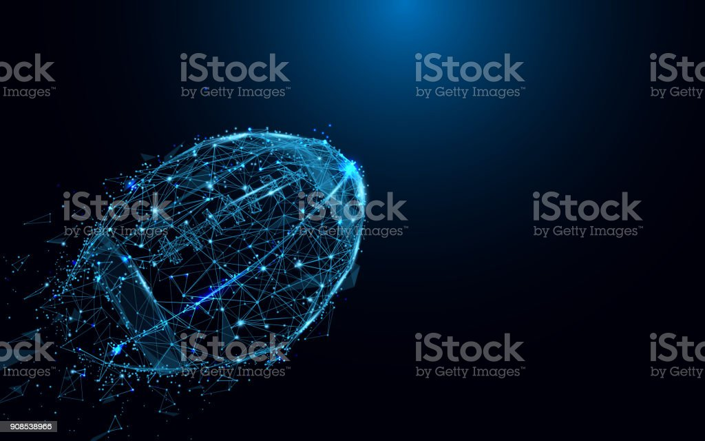 Abstract rugby ball from lines and triangles, point connecting network on blue background. Illustration vector