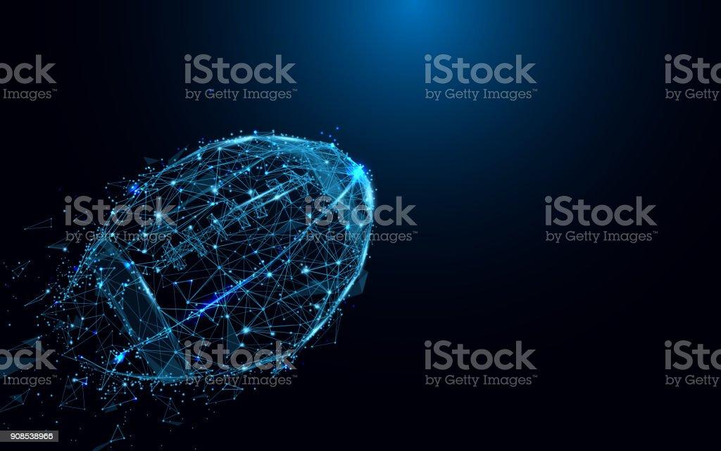 線分と三角形から抽象的なラグビー ボール、青の背景にネットワークを接続するポイント。イラスト ベクターアートイラスト