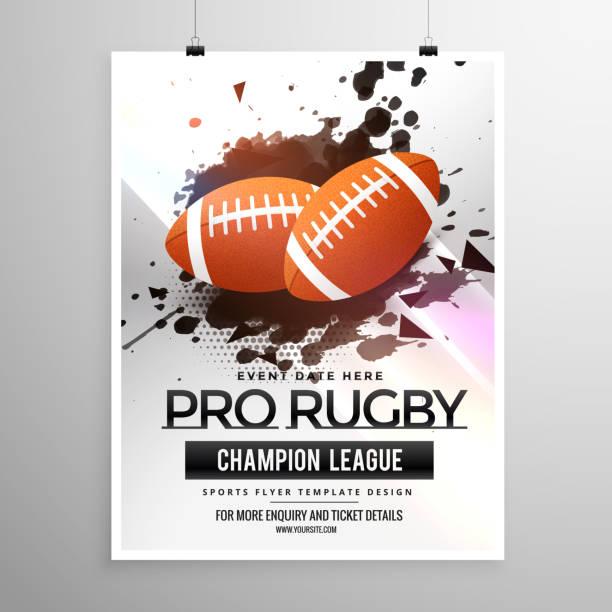 abstrakte rugby sport flyer design mit grunge-effekt - rugby stock-grafiken, -clipart, -cartoons und -symbole