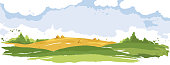 Watercolor vector illustration, wheat fields and meadows