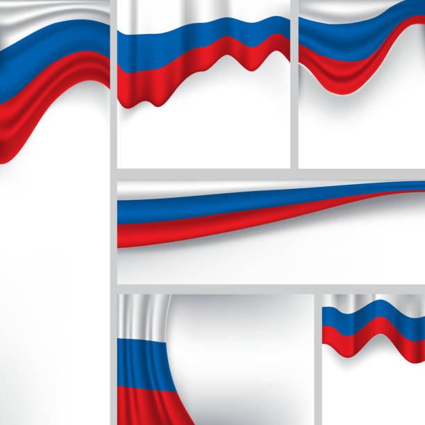illustrations, cliparts, dessins animés et icônes de drapeau abstrait de russie, couleurs russes (art vectoriel) - drapeau russe